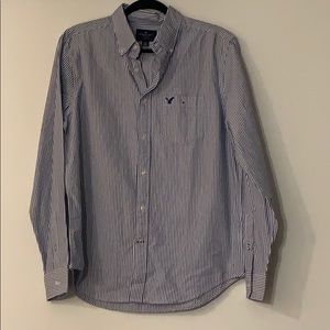 Men's American Eagle Blue Striped Button Down